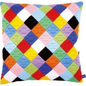 Vervaco Spansteekkussen kit Dolle kleuren