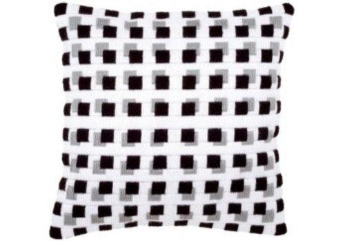 Vervaco Spansteekkussen kit Zwarte blokjes