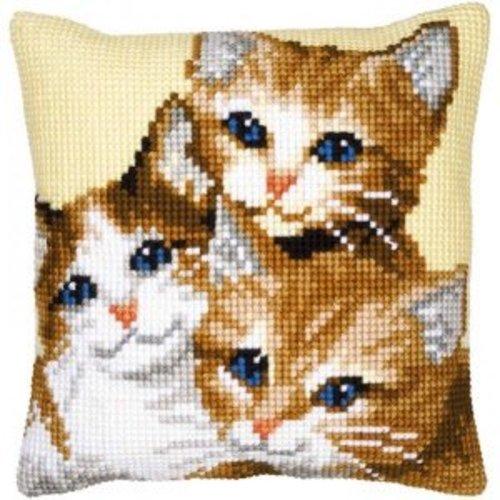 Vervaco Kruissteekkussen kit 3 Katjes
