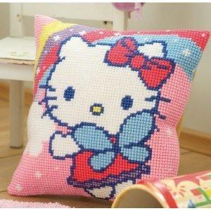Vervaco Kruissteekkussen kit Hello Kitty met regenboog
