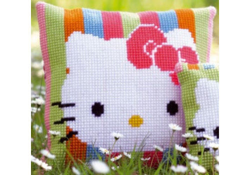 Vervaco Kruissteekkussen kit Hello Kitty gestreept