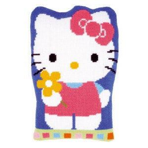 Vervaco Kruissteekvormkussen kit Hello Kitty met bloem
