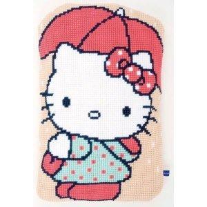 Vervaco Kruissteekvormkussen kit Hello Kitty onder paraplu