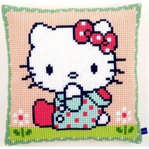 Vervaco Kruissteekkussen kit Hello Kitty Op het grasveld