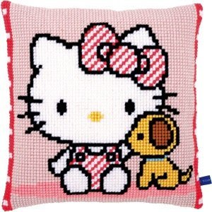Vervaco Kruissteekkussen kit Hello Kitty met hondje