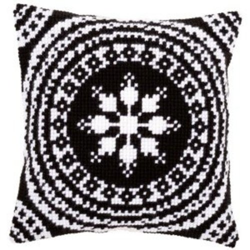 Vervaco Kruissteekkussen kit Zwart/wit
