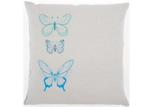 Vervaco Borduurkussen kit 3 Vlinders in blauwe tinten