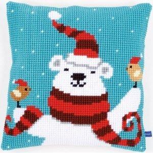 Vervaco Kruissteekkussen kit Vrolijke kerstbeer