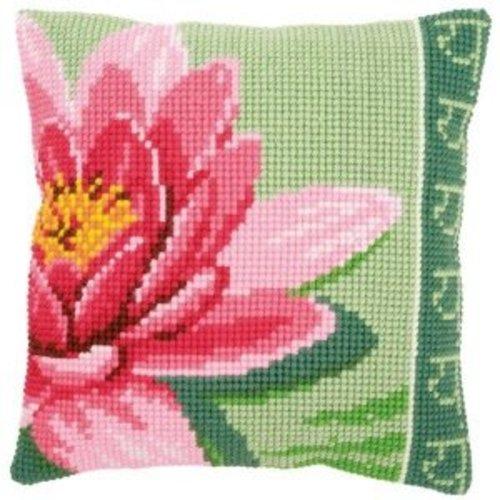 Vervaco Kruissteekkussen kit Roze lotusbloem