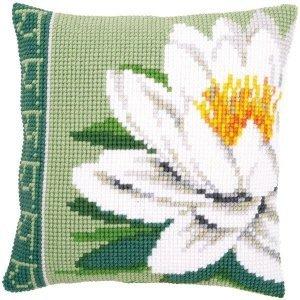 Vervaco Kruissteekkussen kit Witte lotusbloem