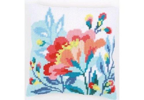 Vervaco Kruissteekkussen kit Bloem in frisse kleuren
