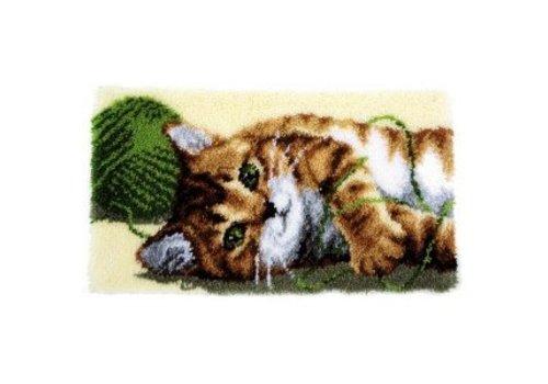 Vervaco Knooptapijt kit Spelende kat