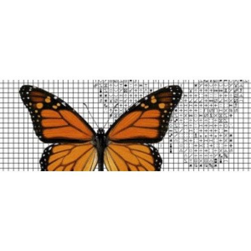 Papilion Borduurpatroon van foto 1 - kleuren - 24 x 36 cm