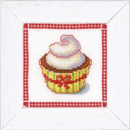 Vervaco Miniatuur kit Cupcake met slagroom