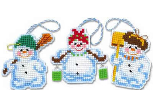 RIOLIS Borduurpakket Christmas Tree Decoration Snowmen - RIOLIS