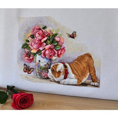 Merejka Cross stitch kit Bulldog and Butterflies - Merejka