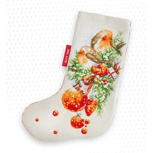 Luca-S Borduurpakket Christmas Stocking Robin - Luca-S