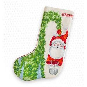 Luca-S Borduurpakket Christmas Stocking Santa Hanging on the Tree - Luca-S