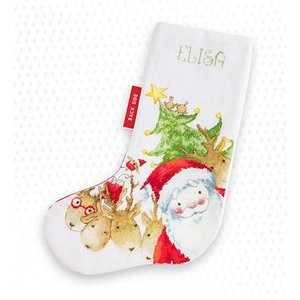 Luca-S Borduurpakket Christmas Stocking Santa and Reindeer - Luca-S