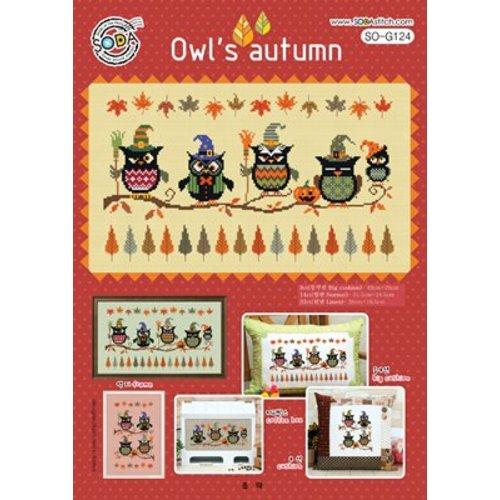 Soda Stitch Borduurpatroon Owl's Autumn - Soda Stitch