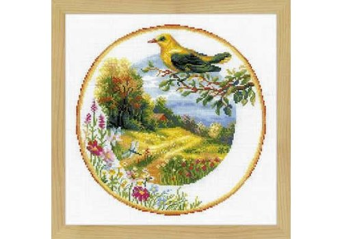 RIOLIS Borduurpakket Plate with Great Tit