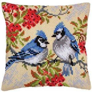 Collection d'Art Kussen borduurpakket Blue Jays - Collection d'Art