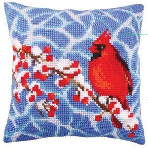 Collection d'Art Kussen borduurpakket Winter Red Berries - Collection d'Art