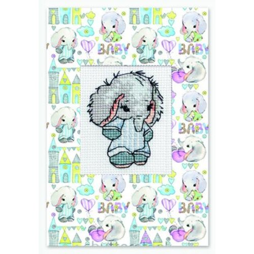 Luca-S Borduurpakket Postcard Baby Elephant Blue