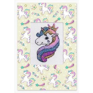 Luca-S Borduurpakket Postcard Unicorn Pink