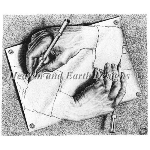 Heaven and Earth Designs  M.C. Escher: Drawing hands