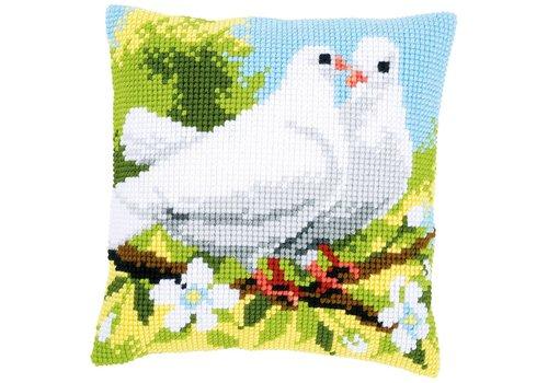Vervaco Kruissteekkussen kit Witte duiven
