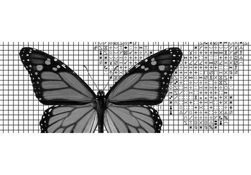 Papilion Papilion patroon 2 - zwart-wit - 36 x 48 cm