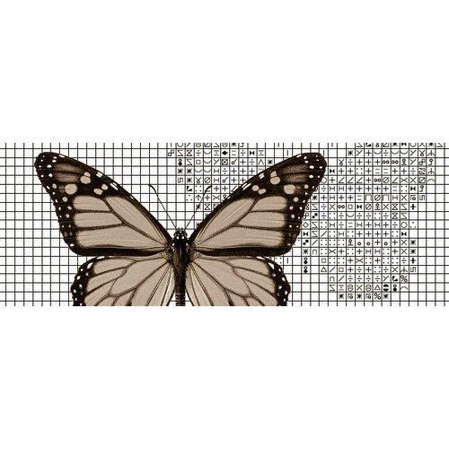 Papilion Borduurpatroon van foto 1 - sepia - 24 x 36 cm
