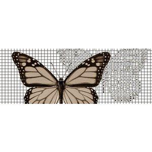 Papilion Borduurpatroon van foto 2 - sepia - 36 x 48 cm