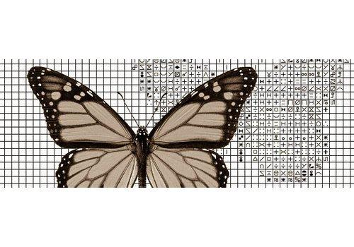 Papilion Papilion patroon 3 - sepia - 48 x 64 cm