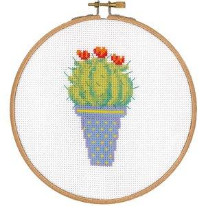 Vervaco Telpakket kit met borduurring Cactus en rode bloem