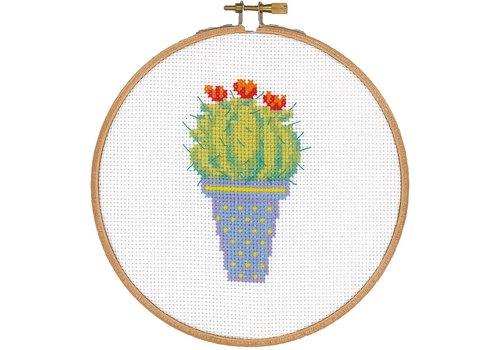 Vervaco Pakket met hoop: Cactus en rode bloem