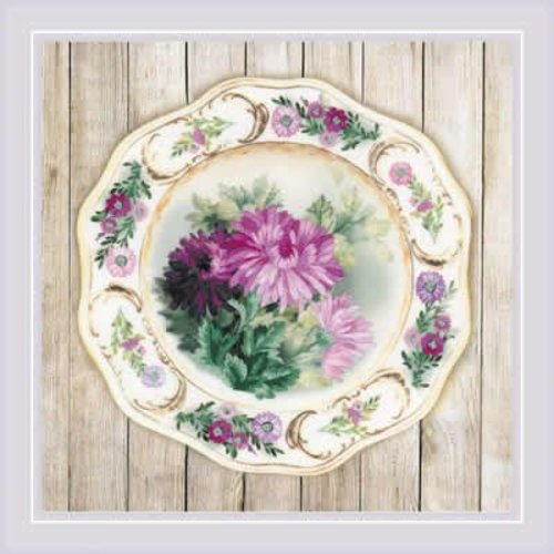 RIOLIS Borduurpakket Plate with Pink Poppies - Satin Stitch - RIOLIS