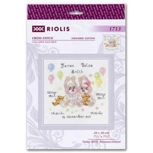RIOLIS Borduurpakket Twins Birth Announcement - RIOLIS