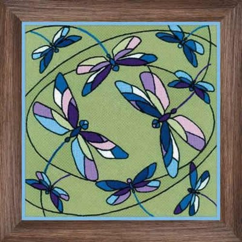 RIOLIS Borduurpakket Cushion/Panel Stained Glass Window - Dragonflies - RIOLIS