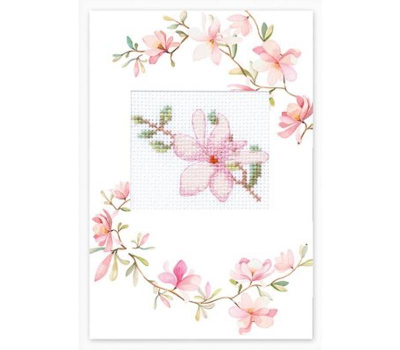 Borduurpakket Postcard Pink Flower - Luca-S