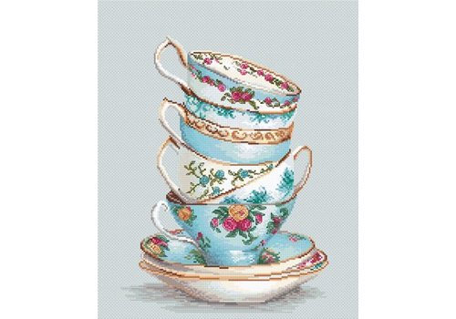 Luca-S Borduurpakket Turquoise Themed Tea Cups - Luca-S