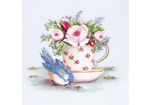 Luca-S Borduurpakket Bird in Tea Cup - Luca-S