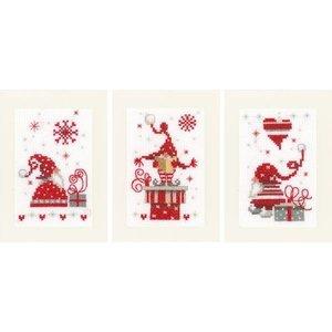 Vervaco Wenskaart kit Kerstkabouters met cadeaus set van 3