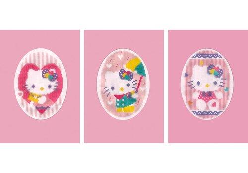 Vervaco Kaarten set van 3: Hello Kitty