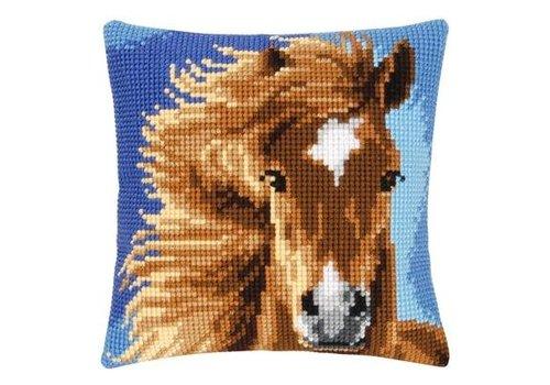 Vervaco Kruissteekkussen kit Bruin paard