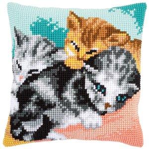 Vervaco Kruissteekkussen kit Snoezelige kittens
