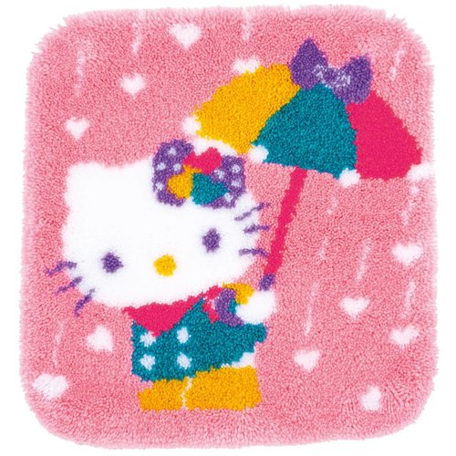 Vervaco Knoopvormtapijt kit Hello Kitty A shower of hearts