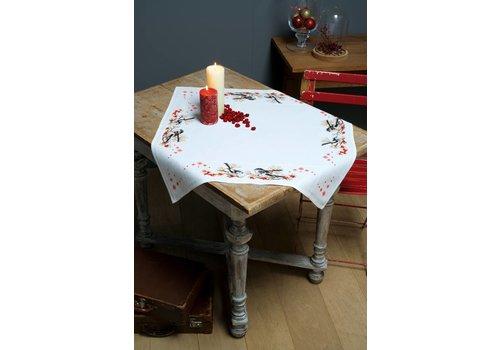 Vervaco Aida tafelkleed kit Staartmeesjes en rode bessen
