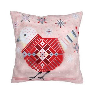 Collection d'Art Kussen borduurpakket Christmas bird - Collection d'Art